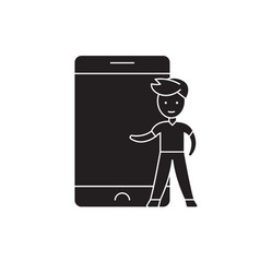 child and smartphone black concept icon vector image