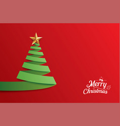 Christmas tree paper art greeting card design vector