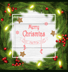 christmas wreath on white vector image