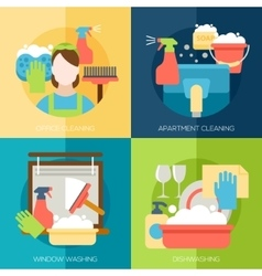 Cleaning design concept with office apartment vector image