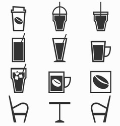 Coffee drinks icons in coffee shop on white vector image