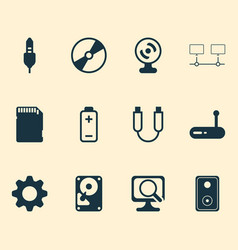 Computer icons set with hdd connected devices vector