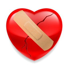 Cracked red heart with plaster vector