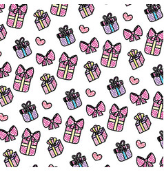 doodle close presents gifts boxes background vector image