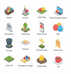 Easter icons pack vector