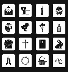 Easter items icons set squares vector