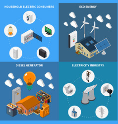 Electricity power isometric concept vector