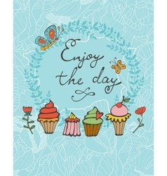 Enjoy the day colorful card with hand drawn vector image