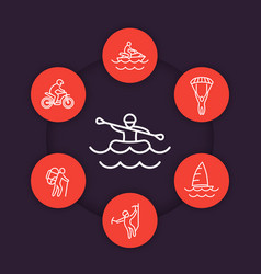 extreme outdoor activities line icons vector image