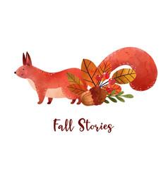 Fall mood woodland squirrels hand drawn vector