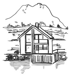 farm building in the mountain landscape sketch vector image