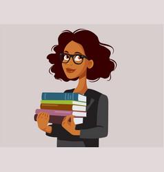 Female teacher holding text books vector
