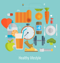 Flat of icons for fitness and diet vector