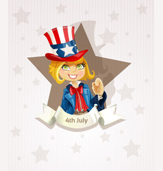 Fourth july poster with pretty blond girl vector