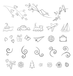 Fun summer spring travel set icon vector