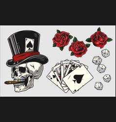 Gambling vintage colorful elements concept vector