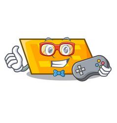 gamer parallelogram mascot cartoon style vector image