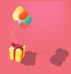gift flies on colorful balloons flat design vector image