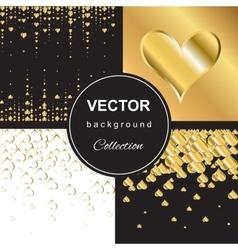golden falling hearts vector image