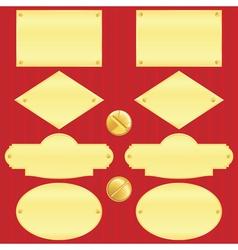 Golden nameplate set vector image