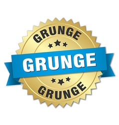 Grunge 3d gold badge with blue ribbon vector