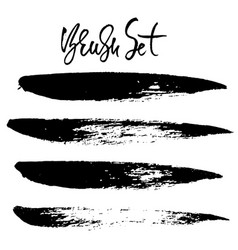 grunge ink brush strokes freehand black brushes vector image