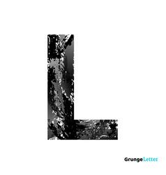 grunge letter l black font sketch style symbol vector image