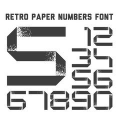 grunge paper ribbon numbers font vector image