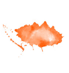 hand painted orange watercolor stain texture vector image