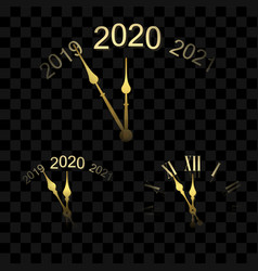 Happy new year 2020 gold clock arrows isolated vector