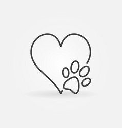 Heart with dog paw icon vector