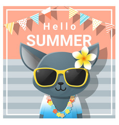 Hello summer background with cat vector
