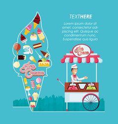 Ice cream kiosk shop with salesman and icons vector