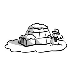 Igloo with snowman sketch hand vector