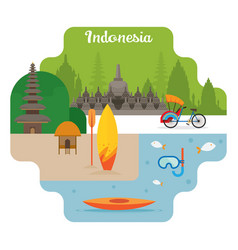 Indonesia travel and attraction landmarks vector