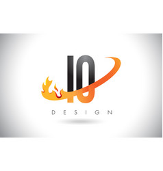 Io i o letter logo with fire flames design and vector