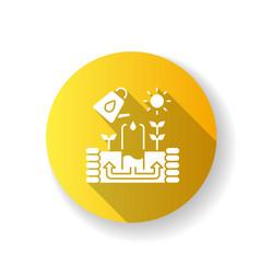 keyhole garden yellow flat design long shadow vector image
