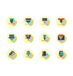 Laser machines round flat color icons vector