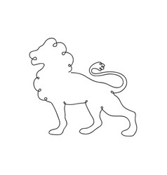 lion one line drawing vector image