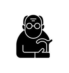 Male pensioner black glyph icon vector