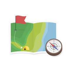 map in grid and antigue compass vector image