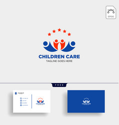 momy and child children care logo template vector image