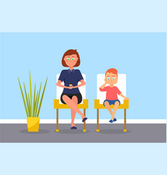 Mother and son in waiting room vector