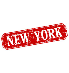 new york red square grunge retro style sign vector image