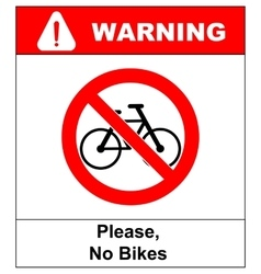 No bicycle sign No bikes symbol for public places vector image