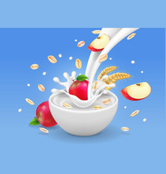 Oatmeal muesli with apples and flowing milk vector