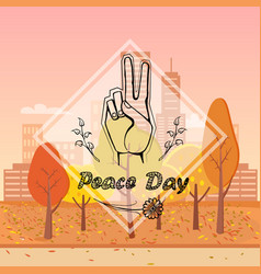 Peace day on urban background vector