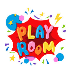 play room text banner with stars circles vector image