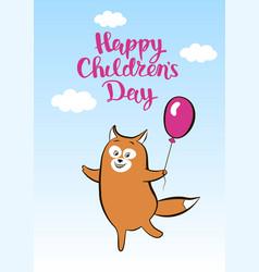 Postcard smiling cartoon fox with balloon for vector