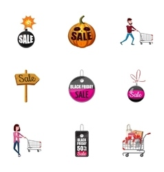 Price down icons set cartoon style vector